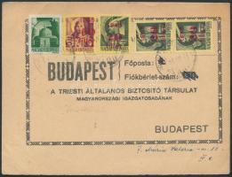 1945 (3. díjszabás) Nyomtatvány 5 bélyeges vegyes bérmentesítéssel