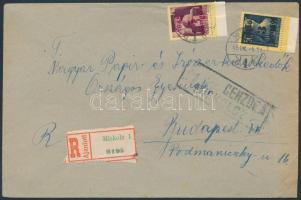 1945 (2. díjszabás) Ajánlott távolsági cenzúrázott levél Kisegítő 3P/3P + 5P/5P bérmentesítéssel