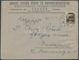 1945 (3.díjszabás) Távolsági céges levél Kisegítő 10P/80f bérmentesítéssel