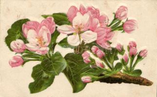 Flower, Emb. litho, Virág, dombornyomat, litho
