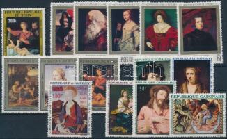 Paintings 15 stamps, Festmény motívum 60-as 70-es évekből 15 klf bélyeg