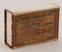 1882 Bécsi gyógyszertár gyógyszeres skatulya / W. Twerdy, Apotheke zum goldenen Hirschen Vienna pharmacy pill box