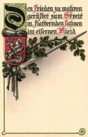 German coat of arms, sword, military propaganda, litho, Címer és kard, német katonai propaganda, litho