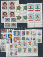 Iran 1985-1991 11 diff blocks of 4 + 2 diff blocks of 8 + 1 pair, Irán 1985-1991 11 klf négyestömb + 2 klf nyolcastömb + 1 pár 3 db stecklapon