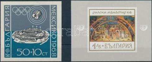 1968 Olimpiai Stadion és festmény 2 klf blokk Mi 22,23