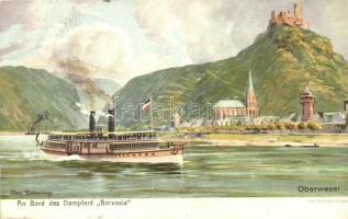 Oberwesel, An Bord des Dampfers Borussia / Borussia steamship, M. Seegers litho s: Osc. Detering (Rb)