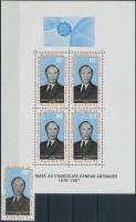 1968 Konrad Adenauer bélyeg Mi 333 + blokk 4