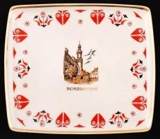 Scrabantia / Sopron városképes Hollóházi porcelán tálka 20x17 cm