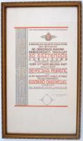 Devecska Ferenc belsőépítész, tanár részére adományozott oklevél az Orsz. Iparművészeti Társulat jubileuma alkalmából rendezett, Szép otthon - boldog élet c. kiállításon bemutatott munkájáért. Üvegezett keretben Hóman Bálint Vallás és közoktatásügyi miniszter saját kezű aláírásával. 44x63 cm