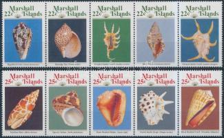 1987/1989 Tengeri csigák és kagylók 2 klf sor 5-ös csíkokban Mi 134-138 + 212-216
