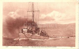 Toulon, Sortie d'un Contre-Torpilleur / WWI French destroyer, battle ship, Első világháborús francia romboló, hadihajó