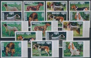 1973 Kutyafajták a világ minden tájáról fogazott és vágott sor Mi 536-543 A + B