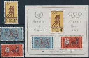 1964 Nyári olimpia sor Mi 237-239 + blokk Mi 2