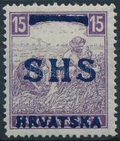 SHS 1918 Fehérszámú Arató 15f (22.000) / Mi 60 Signed: Bodor
