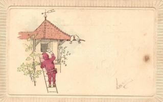 1899 Child, greeting card, 1899 Hírvivő, üdvözlőlap