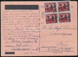 1945 (5. díjszabás) Levelezőlap Pécsre