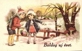 New Year greeting card, children collecting mushrooms, 'Boldog újévet', üdvözlőlap, gombát szedő gyerekek