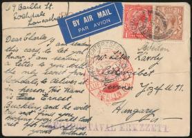 1933 Légi képeslap Pesterzsébetre