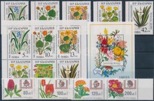 Flower 1988-1997 2 set + mini sheet + block, Virág motívum 1988-1997 2 klf sor + kisív + blokk