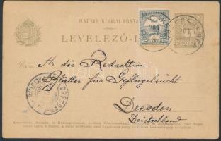 1901 Díjkiegészített díjjegyes levelezőlap ajánlott küldeményként NAGYBECSKEREK - DRESDEN