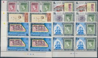 1976 100 éves a bélyeg sor ívszéli négyestömbökben Mi 327-332