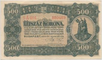 1923. 500K T.W. jelöléssel, nyomdahely nélküli T:III szép papír