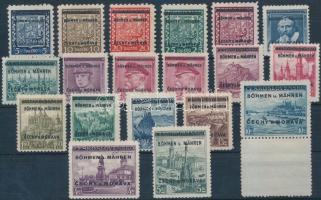 Böhmen und Mahren 1939 Mi 1-19 (3 értéken betapadás / gum disturbance)