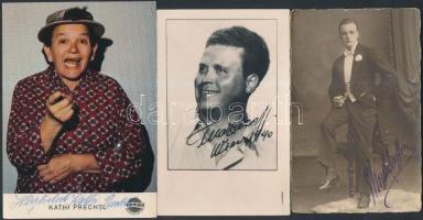 3 db német színész és énekes aláírt lapja különböző korokból / German actors autograph signed cards
