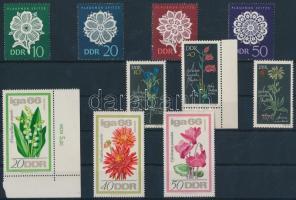 1966 Virágok 3 klf bélyeg + 2 klf sor