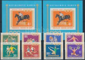 1968 Nyári Olimpia, Mexikó sor Mi 511-518 + blokk 15 A + B