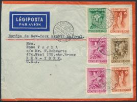 1939 Légi levél New Yorkba Pax Ting bérmentesítéssel / Pax Ting stamps on airmail cover to New York