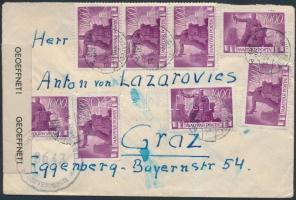 1946 Cenzúrás levél 15 x Újjáépítés 1000P bélyeggel / censored cover BUDAPEST - Graz