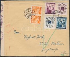 Böhmen und Mähren 1940 Cenzúrás levél Vöröskereszt bélyegekkel / censored cover to Yugoslavia BRÜNN - KULA