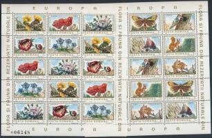 European natural areas of flora and fauna mini sheet set, Európai természetvédelmi övezetek állat- és növényvilága kisívsor