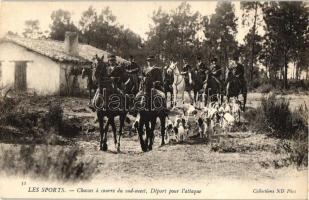 Les Sports - Chasses a courre du sud-ouest, Depart pour l'attaque / hunters with hounds, Francia lovas vadászok kutyákkal