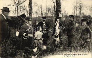 Chasse a courre a la Foret de Cerisy, Le partage des Cerfs / Sharing the deer at the end of the hunt, Vadászok a Cerisy erdőben, az elejtett szarvas elosztása a vadászat végén