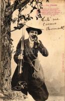 La Chasse / Lady hunter with gun, Vadász hölgy puskával