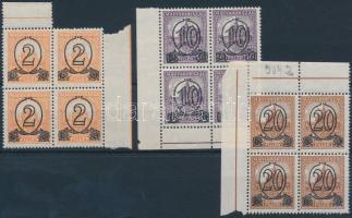 1931 Kisegítő bélyeg (I.) B 2f/3f, 10f/16f, 20f/25f négyestömbökben (26.000)