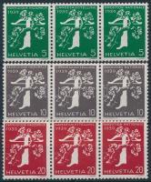 1939 Országos kiállítás 3 klf bélyegtekercs összefüggés W12, 18, 24
