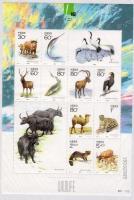 Védett állatok, halak, madarak kisív Protected animals, fishes, birds mini sheet