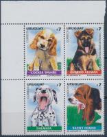 Kölyökkutyák sor ívsarki 4-es tömbben, Dogs set in corner block fo 4