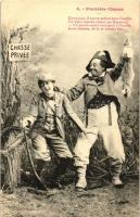 Premiere Chasse / Hunting postcard series - 4 old postcards