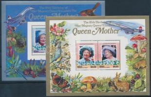 Elizabeth Queen Mother blocks, Erzsébet anyakirálynő születésnapja lepkék, állatok, gombák, virágok blokk
