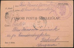 """Field postcard """"M.KIR. 11. HONVÉD LOVAS HADOSZTÁLY PARANCSNOKSÁG GAZDASÁGIHIVATALA"""" + """"TP 30"""", Tábori posta levelezőlap """"M.KIR. 11. HONVÉD LOVAS HADOSZTÁLY PARANCSNOKSÁG GAZDASÁGIHIVATALA"""" + """"TP 30"""""""