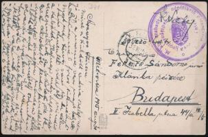 """Field postcard """"M.kir. szabadkai 6. népfölkelő parancsnokság / I. hadtápzászlóalj gazdasági hivatala"""" + """"FP 318"""", Tábori posta képeslap """"M.kir. szabadkai 6. népfölkelő parancsnokság / I. hadtápzászlóalj gazdasági hivatala"""" + """"FP 318"""""""