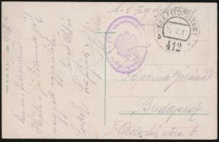 """Postcard """"K.u.k. 2. Infanterietruppendivision PLATZKOMMANDO"""" + """"FP 412 b"""", Tábori posta képeslap """"K.u.k. 2. Infanterietruppendivision PLATZKOMMANDO"""" + """"FP 412 b"""""""