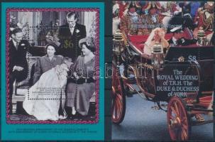 1986-1987 II. Erzsébet királynő + Andrew herceg és Sarah Ferguson esküvője 2 klf blokk, 1986-1987 Queen Elizabeth II + Prince Andrew & Sarah Ferguson's wedding 2 blocks