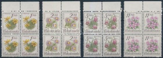 Flowers set in margin blocks of 4, Virág sor ívszéli négyestömbökben