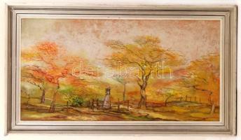 Károlyi András (1938-): Sárguló lombok. Olaj, farost, jelzett a hátoldalán, keretben, 39×74 cm