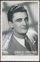 cca 1960 Carlo Ferrari olasz énekes aláírt fotója / Italian singer signed photo